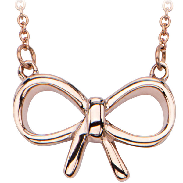 Inox 316L Rose Gold IP String Bow Pendant Necklace