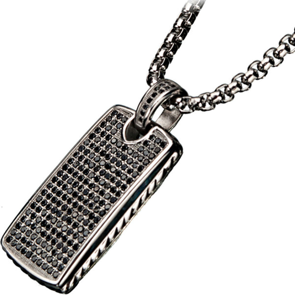 Inox 316L Steel Black Oxidized Double Sided Pendant with CZ Stones