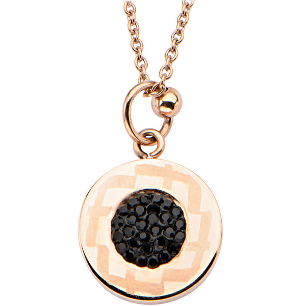 18 Inch Inox 316L Rose Gold Polished Black Pave Gem Pendant Necklace