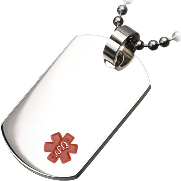 Inox 316L Steel Men's Engraveable Dog Tag Medical Pendant Necklace