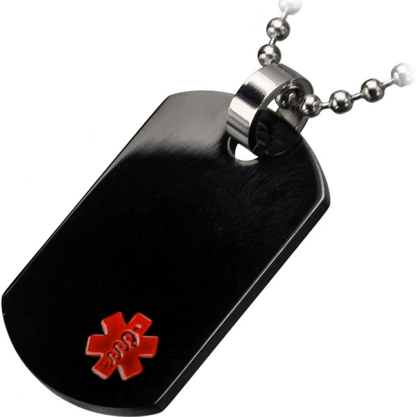 Inox 316L Black Steel Men's Engraveable Dog Tag Medical Pendant Necklace