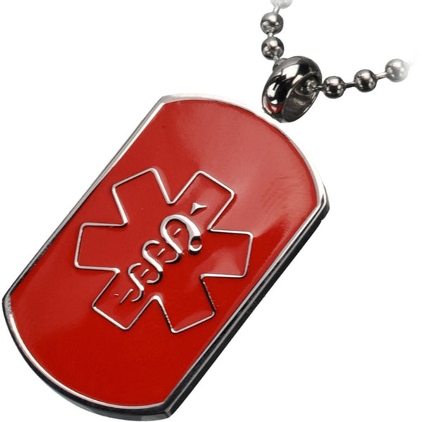 Inox 316L Steel Red Men's Dog Tag Medical Pendant Necklace