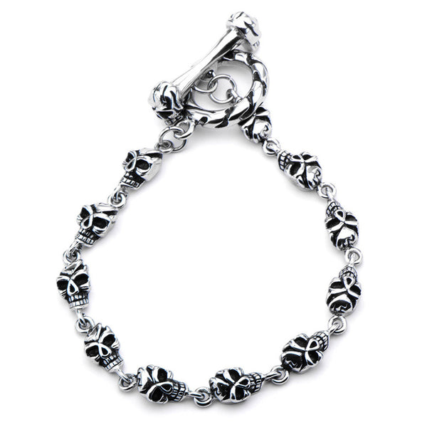 Inox 316L Steel Black Onyx Eye Skull Women's Toggle Bracelet