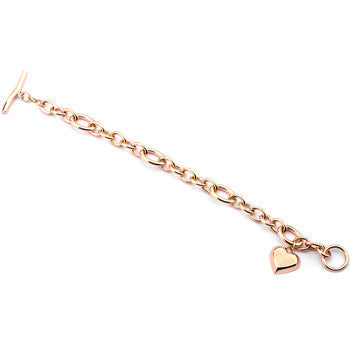 Inox 316L Steel Rose Gold Plated Heart Charm Women's Toggle Bracelet