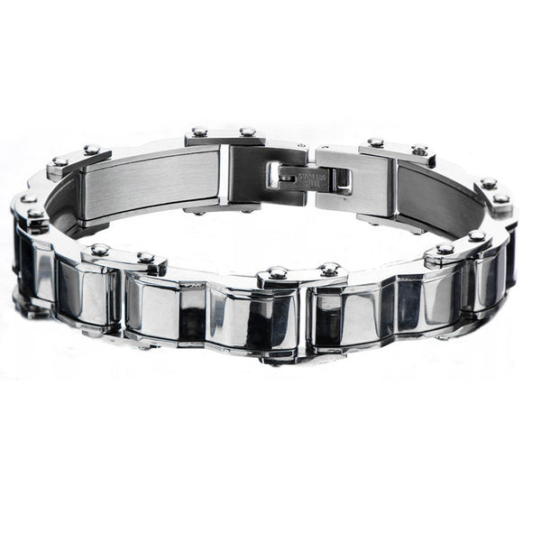 Inox 316L Steel Hump Bar Men's Link Bracelet