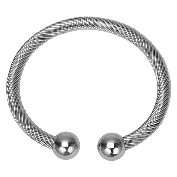 Inox 316L Steel 6mm Twisted Cord Women's Bangle Bracelet