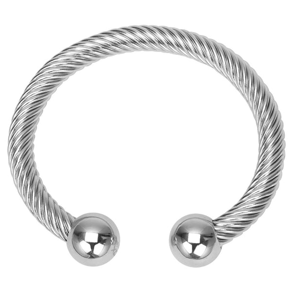 Inox 316L Steel 8mm Twisted Cord Women's Bangle Bracelet