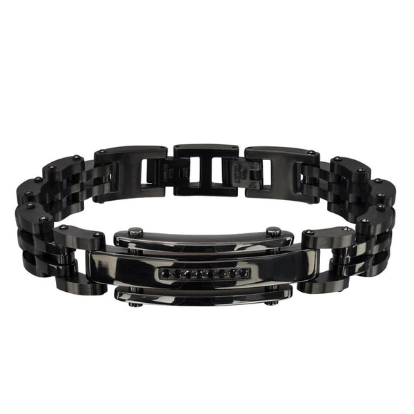 Inox 316L Steel Black IP Genuine Black Diamond Men's Link Bracelet