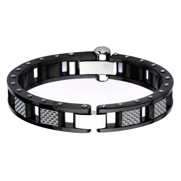 Inox 316L Steel Black IP White Carbon Industrial Clasp Men's Bracelet