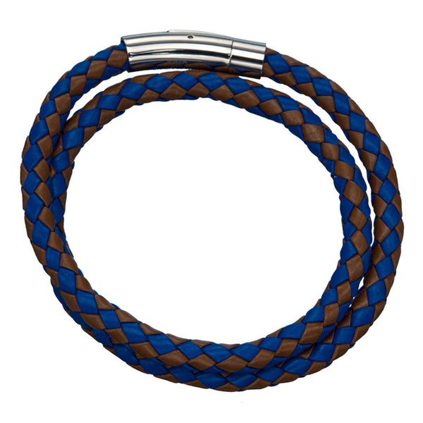 Inox 316L Steel Blue Brown Woven Double Wrap Leather Men's Bracelet