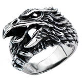 Inox 316L Steel Black Oxidized Screaming Eagle Head Biker Ring