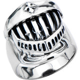 Inox 316L Steel Knighted Skull Head Hinged Biker Ring