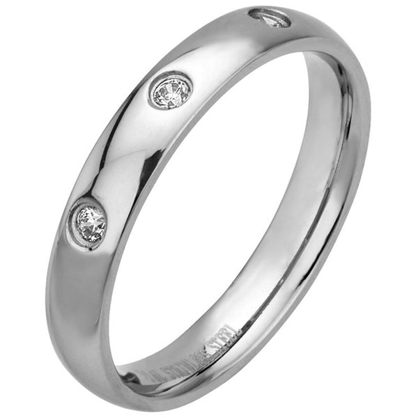 Inox 316L Steel Cubic Zirconia Triad Wedding Band Ring