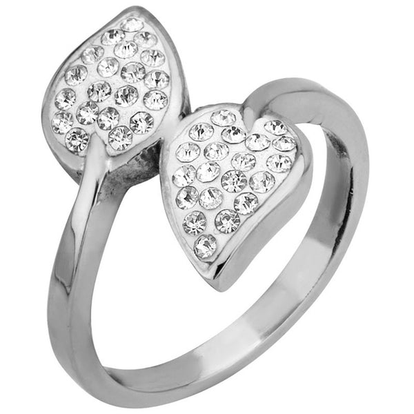 Inox 316L Steel Twin Spring Leaf Cubic Zirconia Ring