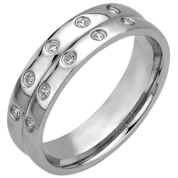 Inox 316L Steel Paired Line Cubic Zirconia Ring