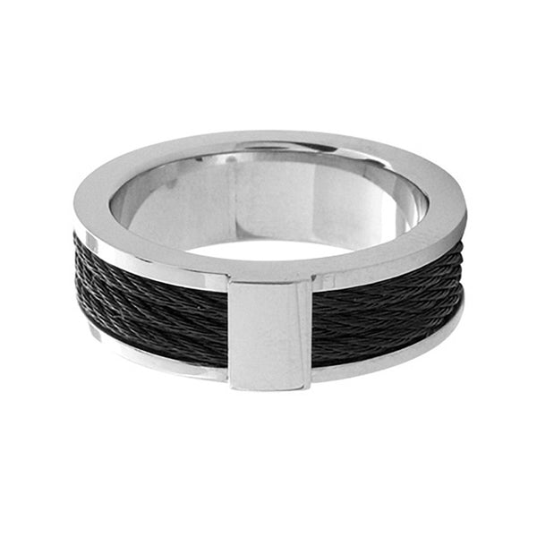 Inox 316L Steel Black IP Two Tone Black Cable Inlay Ring