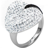 Inox 316L Steel Clear Pave Gem Black Stripe Heart Fashion Ring