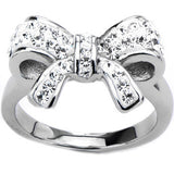Inox 316L Steel Clear Gemmed Petite Bow Tie Fashion Ring