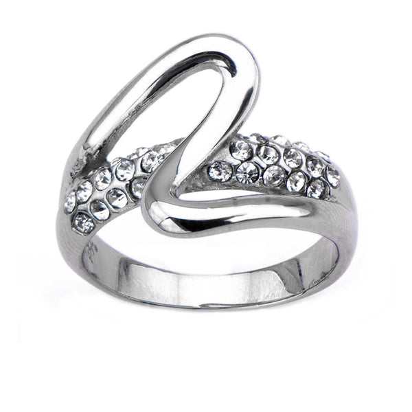 Inox 316L Stainless Steel Top Swirl Clear Gemmed Majesty Ring