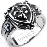 Inox 316L Steel Black Oxidized Fleur de Lis Shield Biker Ring