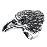 Inox 316L Steel Black Oxidized Bird of Prey Biker Ring