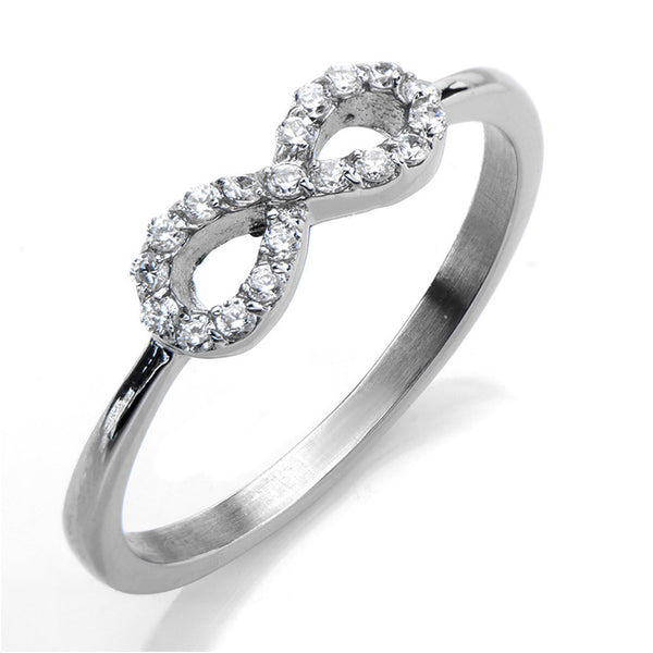 Inox 316L Stainless Steel Cubic Zirconia Infinity Ring