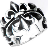 Inox 316L Steel Black Oxidized Swirling Fleur de Lis Ring