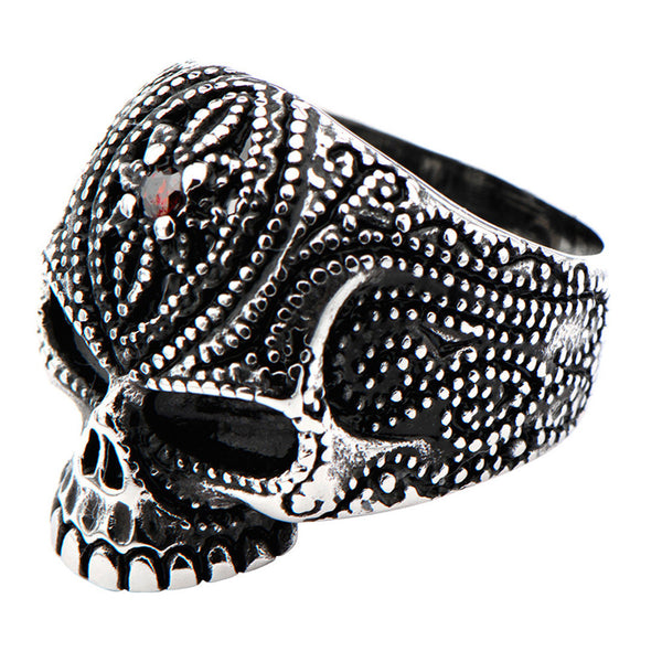 Inox 316L Steel Black Oxidized Red Gem Sugar Skull Ring