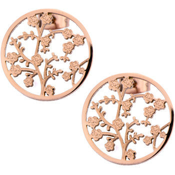 Inox 316L Steel Rose Gold IP Blooming Tree Medallion Earrings