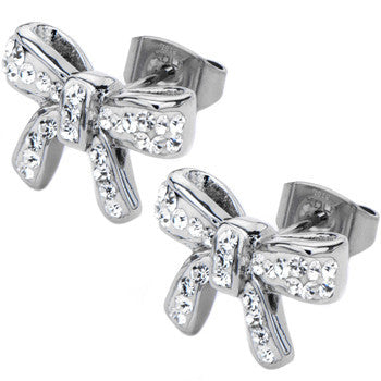 Inox 316L Stainless Steel Clear Gemmed Petite Bow Tie Stud Earrings