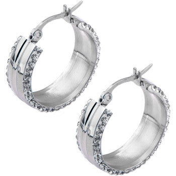 Inox 316L Steel Wide Double Sided Clear Crystal Ferido Hoop Earrings