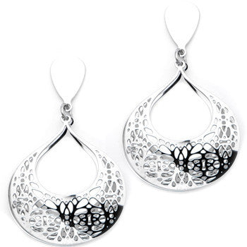 Inox 316L Steel Vine Double Teardrop Filigree Dangling Stud Earrings