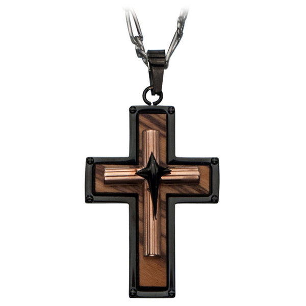 Inox 316L Steel Black IP Rose Gold IP Wood Three Tier Cross Pendant