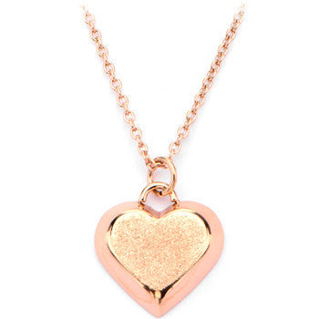 Inox 316L Stainless Steel Rose Gold IP Textured Heart Pendant Necklace