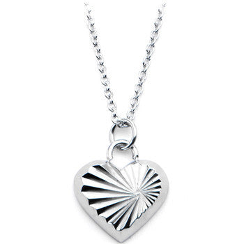 Inox 316L Stainless Steel 16 Inch Sunburst Heart Pendant Necklace