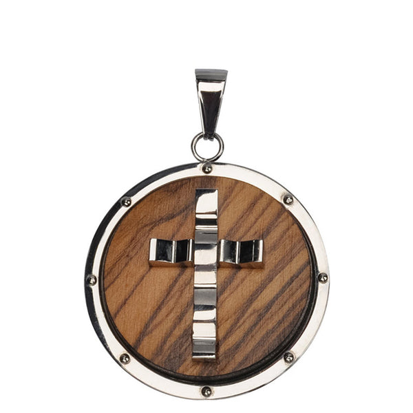 Inox 316L Steel Olive Wood Cross Medallion Pendant