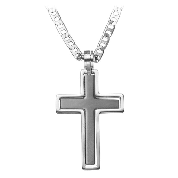 Inox 316L Stainless Steel Two in One Cross Pendant Necklace