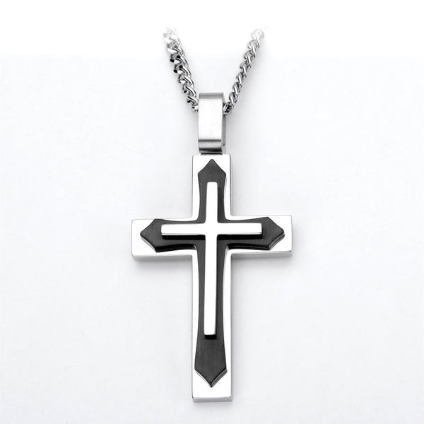 Inox 316L Stainless Steel Three Tone Cruzada Cross Pendant Necklace