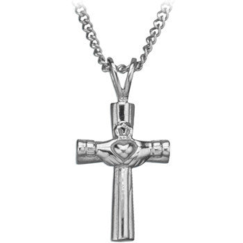 Inox 316L Stainless Steel Galway Claddagh Cross Pendant Necklace