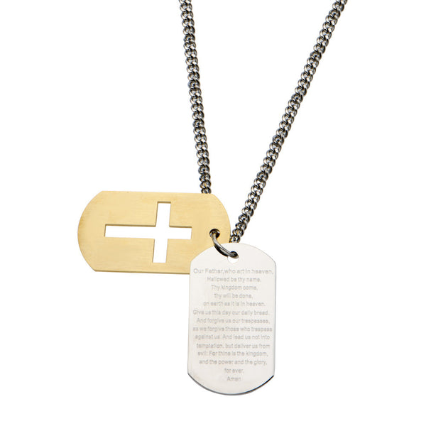 Inox 316L Stainless Steel Gold IP Lords Prayer Double Dog Tag Necklace