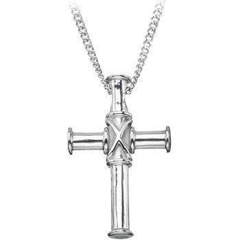Inox 316L Stainless Steel Cylindrical Crosstie Pendant Necklace