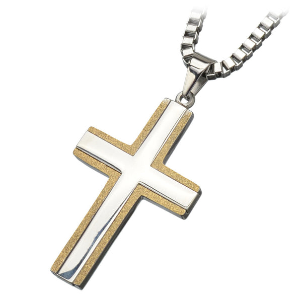 Inox 316L Steel Gold IP Two Tone Sanded Edge Cross Pendant Necklace