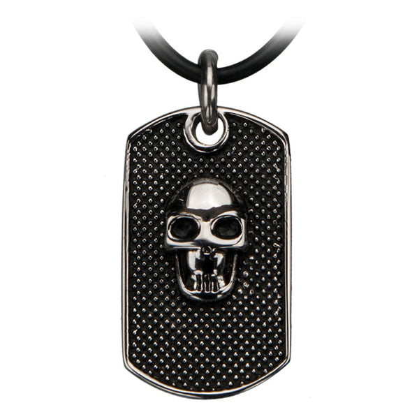 Inox 316L Steel Black Oxidized Dot Matrix Skull Dog Tag Necklace