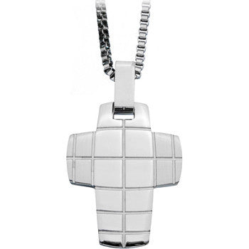 Inox 316L Stainless Steel Matte Grid Rounded Cross Pendant Necklace