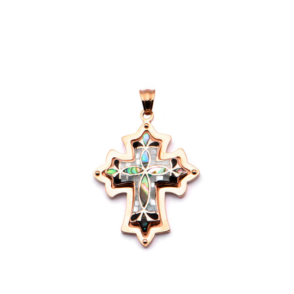 Inox 316L Steel Rose Gold IP Handset Petal Mosaic Cross Pendant