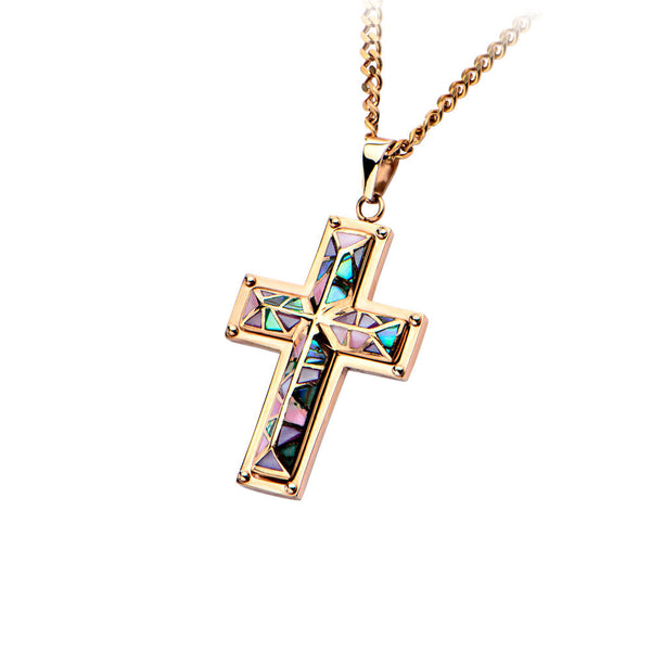 Inox 316L Steel Rose Gold IP Handset Dimensional Mosaic Cross Necklace