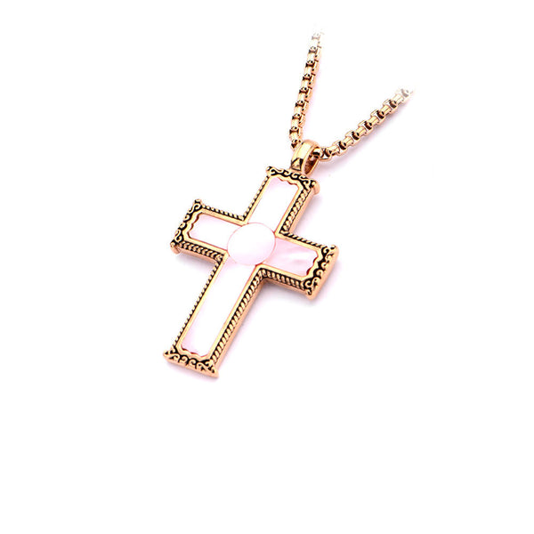 Inox 316L Steel Rose Gold IP Frame Pink Mother of Pearl Cross Necklace