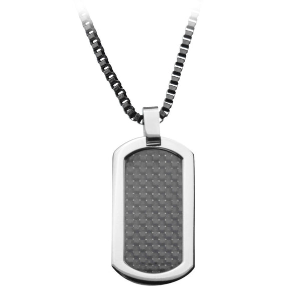 Inox 30 Inch Titanium Black Carbon Dog Tag Pendant Necklace