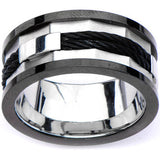 Inox 316L Stainless Steel Black IP Rim with Cable Inlay Ring