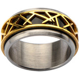 Inox 316L Stainless Steel Black IP Gold IP Thorn Accent Ring